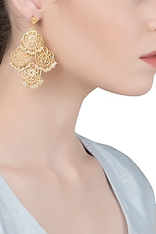 Gold Plated Silver and Pearl Beads Earrings by Zariin