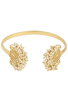 Gold Plated Small Pearl Beads Bangle by Zariin