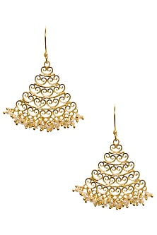 Gold Plated Jhumka Style Earrings by Zariin