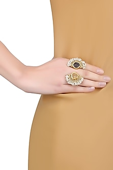 Gold Plated Citrine and Smoky Topaz Double Finger Ring by Zariin