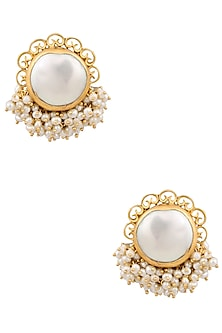 Gold Plated Baroque Pearl Stud Earrings by Zariin