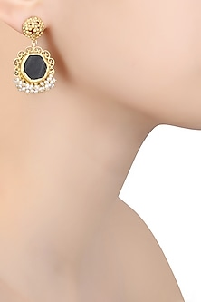 Gold Plated Black Onyx Ruff Earrings by Zariin