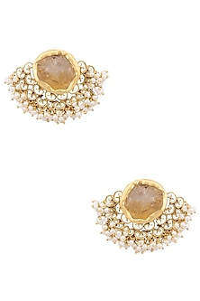Gold Plated Citrine Stone Filigree Earrings by Zariin