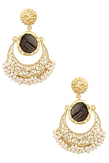 Gold Plated Smoky Topaz and Pearl Crescent Earrings by Zariin