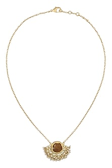 Gold Plated Citrine and Pearl Pendant Necklace by Zariin