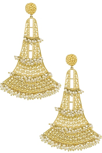 Gold Plated Pearls Oversized Earrings by Zariin