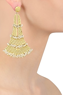 Gold Plated Pearls Oversized Earrings by Zariin