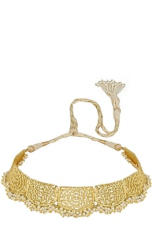 Gold Plated Pearls Filigree Choker Necklace by Zariin