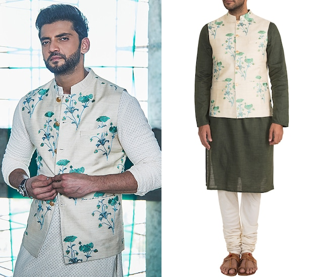 Cream Embroidered Bundi Jacket by Project Bandi