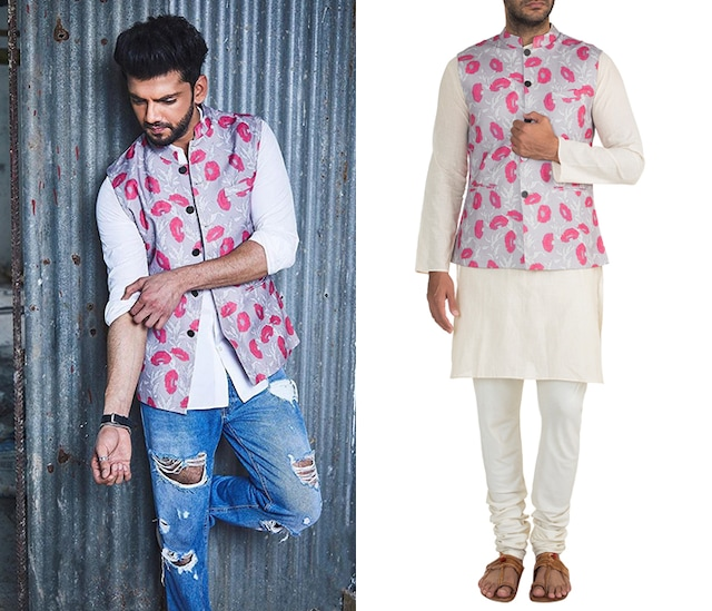 Mauve Printed Bundi Jacket by Project Bandi
