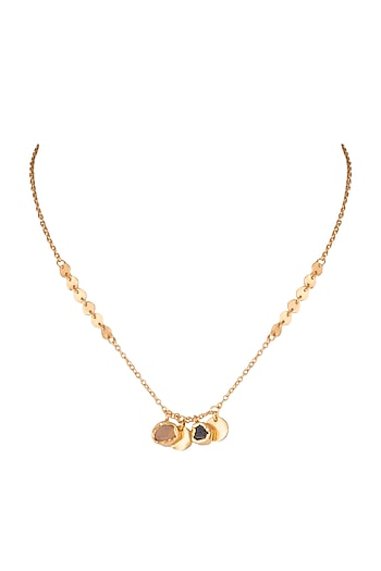 22Kt Gold Plated Smoky Topaz & Citrine Stone Necklace by Zariin