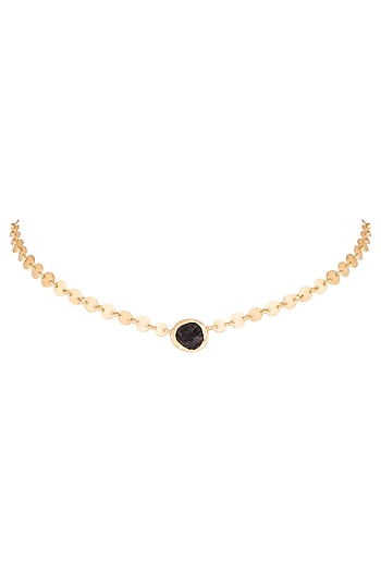 22Kt Gold Plated Smoky Topaz Choker Necklace by Zariin