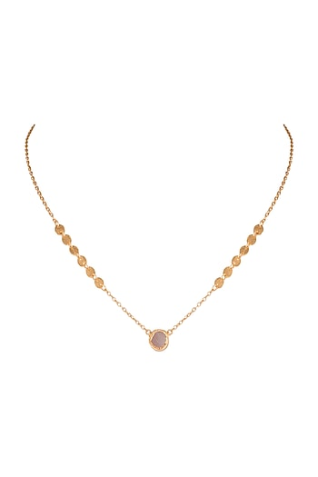 22Kt Gold Plated Rose Quartz Necklace by Zariin