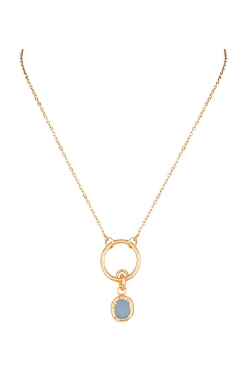 22Kt Gold Plated Blue Topaz Necklace by Zariin