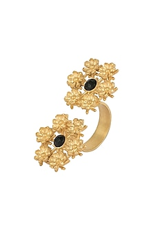Gold plated black onyx ring by Zariin