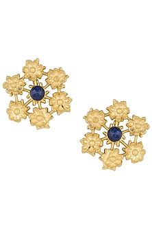 Gold plated blue lapis earrings by Zariin
