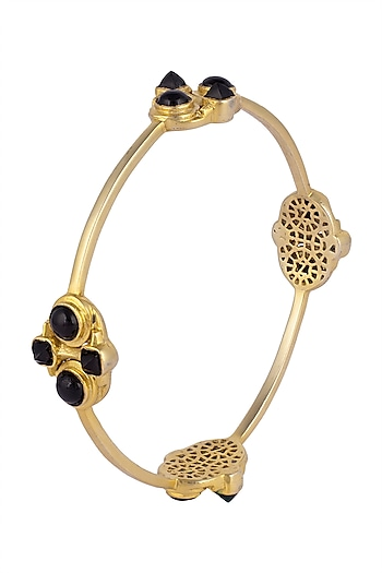 Gold plated black onyx bangle by Zariin