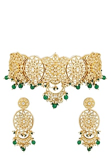 Gold Plated Green Stone Choker Necklace Set by Zevar by Geeta