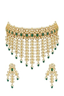 Gold Plated Necklace Set by Zevar by Geeta-JEWELLERY ON DISCOUNT