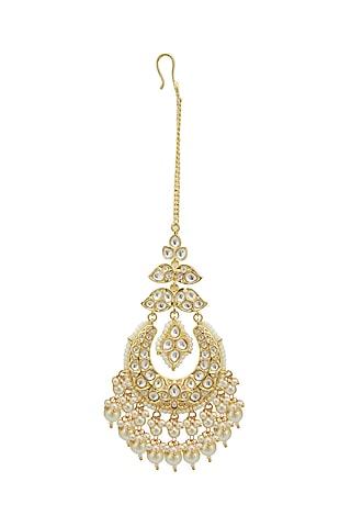 Gold Plated Kundan & Pearls Maang Tikka by Zevar by Geeta
