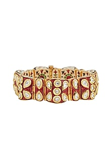 Gold Plated Red Meenakari Openable Kada by Zevar by Geeta