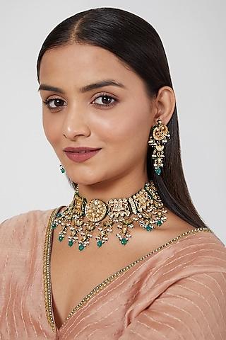 Gold Plated Kundan Polki & Beaded Necklace Set by Zevar By Geeta