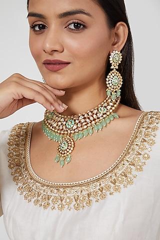 Gold Plated Kundan Polki & Beaded Bridal Necklace Set by Zevar By Geeta