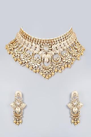 Gold Plated Bridal Meenakari Choker Necklace Set by Zevar By Geeta