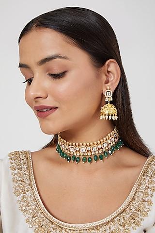 Gold Plated Kundan Polki Choker Necklace Set by Zevar By Geeta