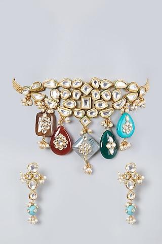 Gold Plated Kundan Polki & Pearl Choker Necklace Set by Zevar By Geeta