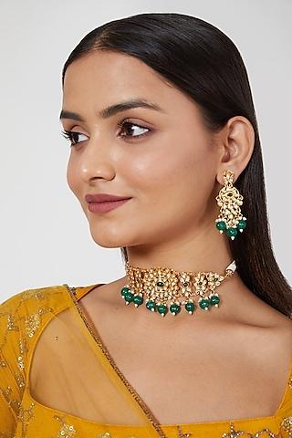Gold Plated Kundan Polki & Emerald Necklace Set by Zevar By Geeta