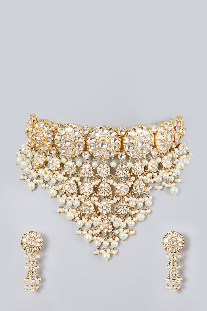 Gold Plated Kundan Polki Big Choker Necklace Set by Zevar By Geeta