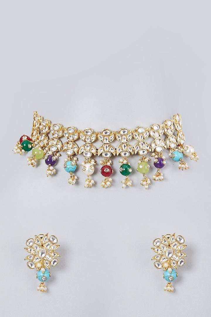 Gold Plated Kundan Polki & Navratna Choker Necklace Set by Zevar By Geeta