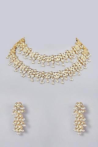 Gold Plated Kundan Polki Layered Necklace Set by Zevar By Geeta