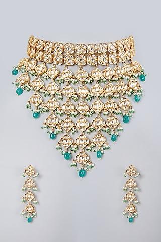 Gold Plated Kundan Polki & Green Beaded Choker Necklace Set by Zevar By Geeta