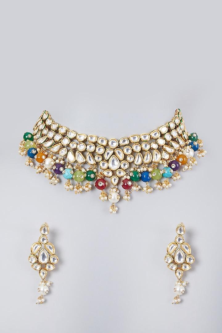 Gold Plated Kundan Polki & Navratna Necklace Set by Zevar By Geeta