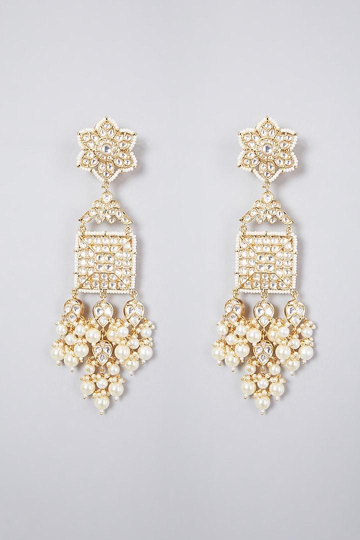 Gold Plated Kundan Polki Dangler Earrings by Zevar By Geeta