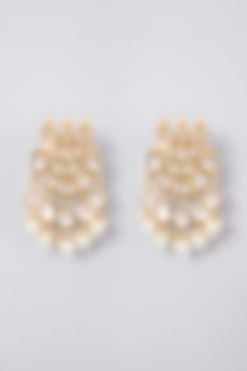 Gold Plated Kundan Polki & Pearl Earrings by Zevar By Geeta