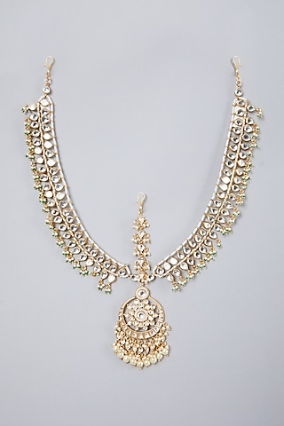 Gold Plated Kundan Polki & Pearl Matha Patti by Zevar By Geeta