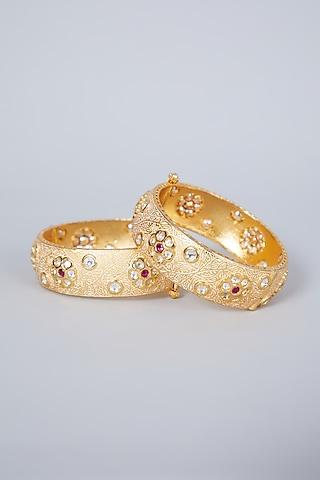 Gold Plated Kundan Polki & Pearl Kadas by Zevar By Geeta