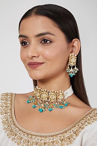 Gold Plated Bead & Kundan Polki Choker Necklace Set by Zevar By Geeta