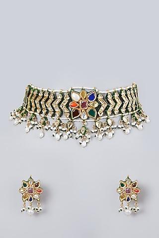 Gold Plated Navratna Floral Choker Necklace Set by Zevar By Geeta