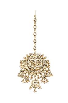 Gold Plated Kundan Bridal Maang Tikka by Zevar by Geeta