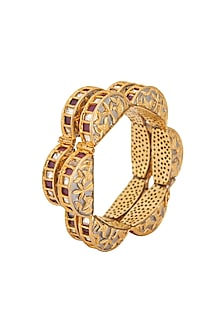 Gold Plated Kundan Kada Bracelets by Zevar by Geeta
