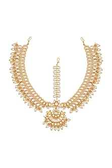 Gold Plated Pearl Matha Patti by Zevar by Geeta