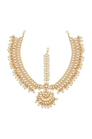Gold Plated Pearl Matha Patti by Zevar By Geeta