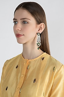 22 Kt Gold Plated Enameled Dangler Earrings by Zevar by Geeta