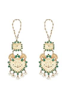 22 Kt Gold Plated Emerald & Pearl Earrings by Zevar by Geeta