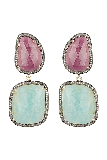 Silver Plated Ruby Victorian Earrings by Zevar by Geeta