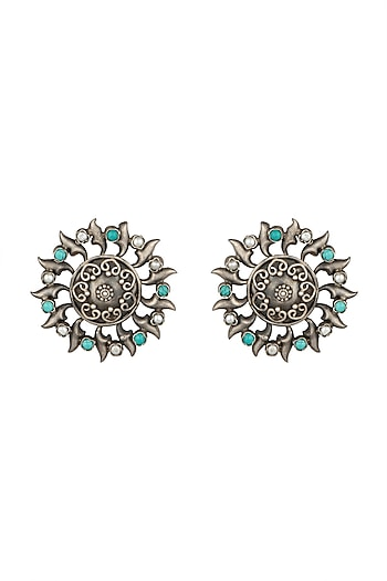 Silver Plated Turquoise Stone Stud Earrings by Zevar by Geeta